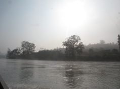Misty boat ride on Day 1 of our Northern Shan trek