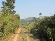 The train line which runs all the way to Mandalay