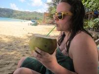 Enjoying a fresh coconut!