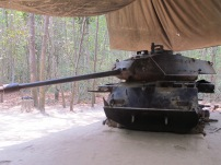 An American tank which the Viet Cong brought down