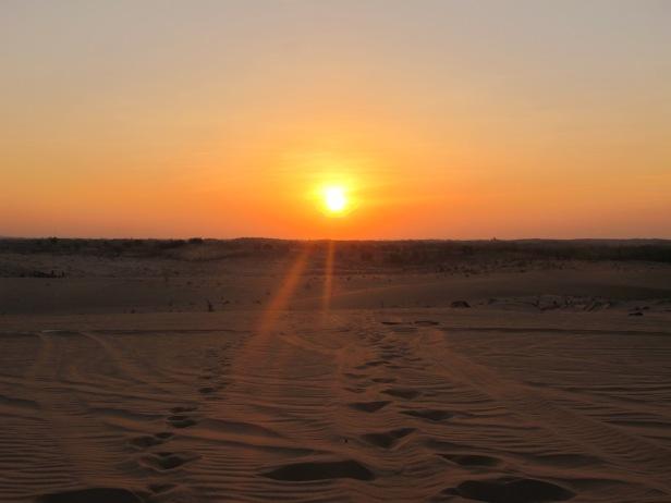 Sunrise on the sand dunes in Mui Ne